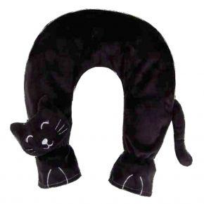 Katze schwarz, mit Wärmflasche