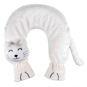 Katze weiß, mit Wärmflasche